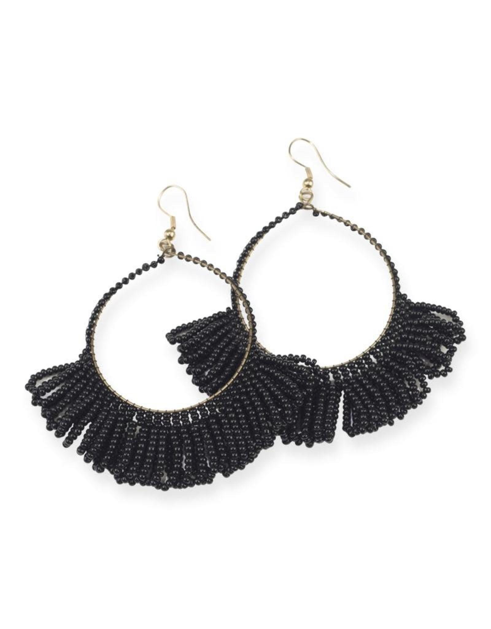 Black Fringe Hoop Seed Bead Earring