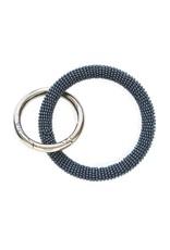 Grey Seed Bead Key Ring