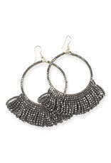 gunmetal fringe hoop seed bead earrings