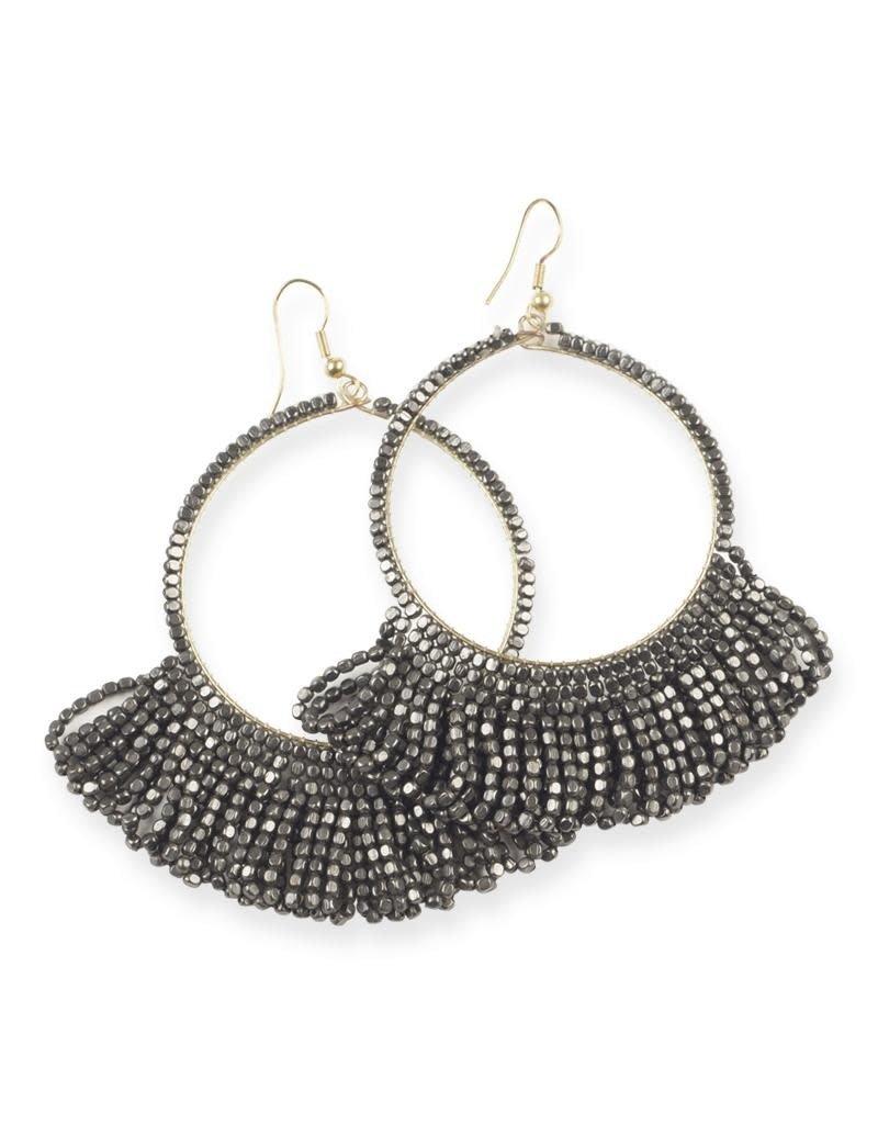 gunmetal fringe hoop seed bead earrings