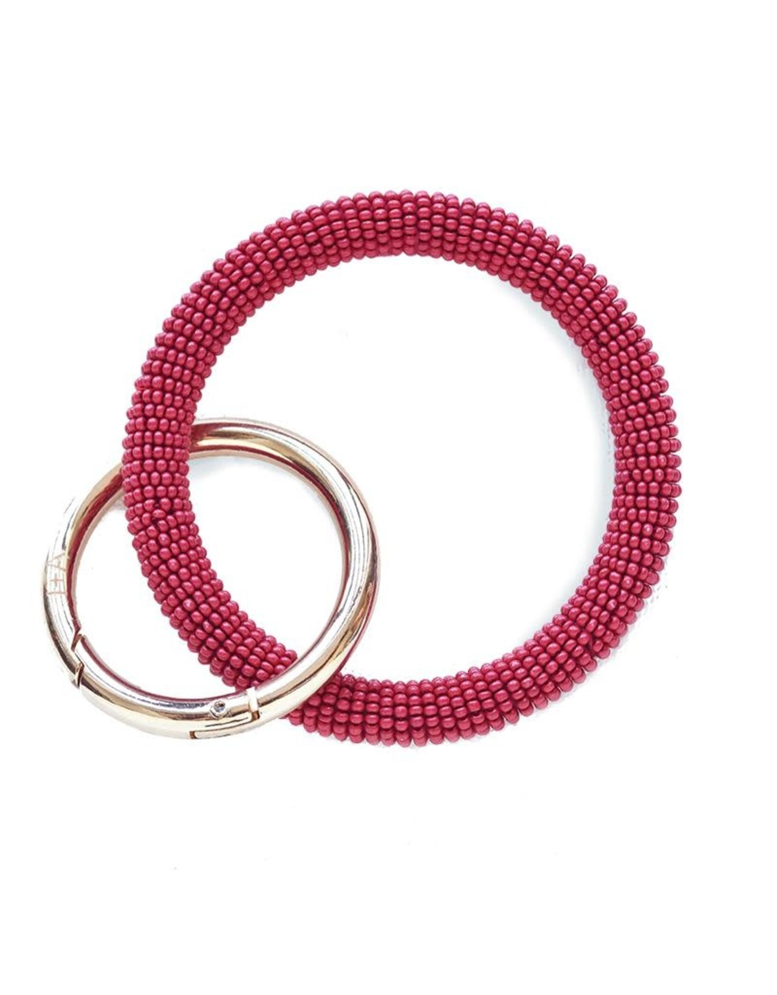 Red Seed Bead Key Ring