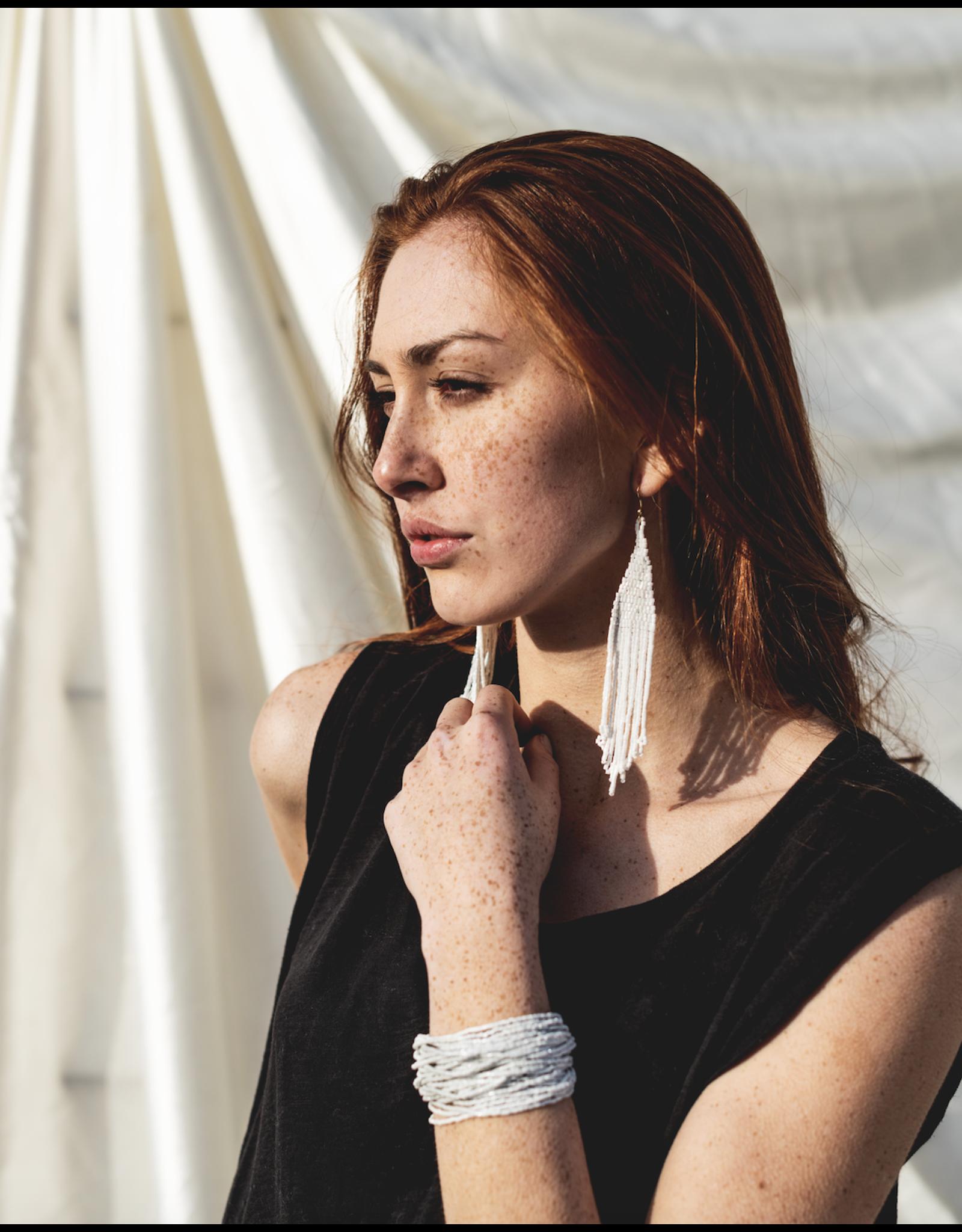 Metallic White Long Fringe Earring