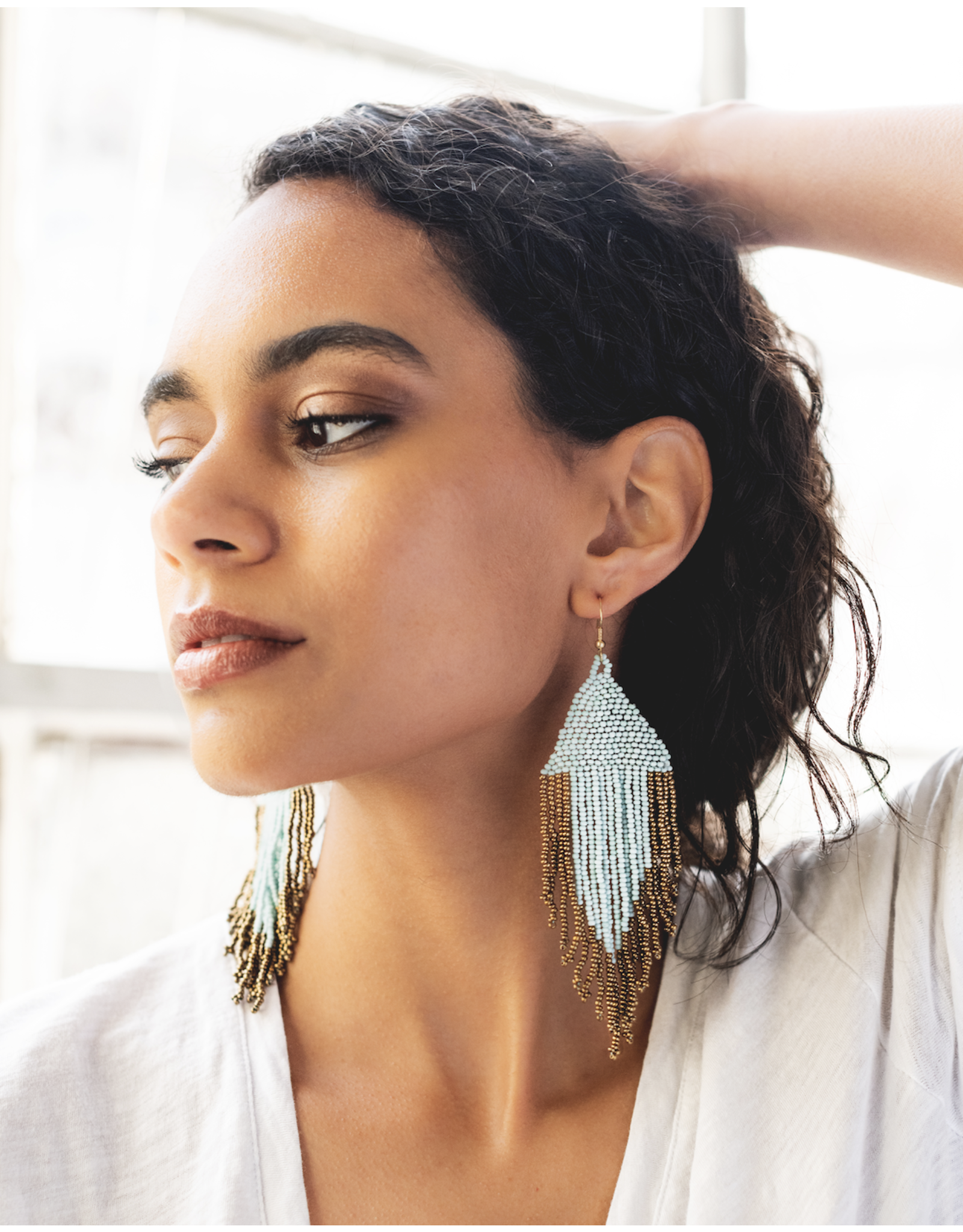 Blue and Gold Fringe Earrings