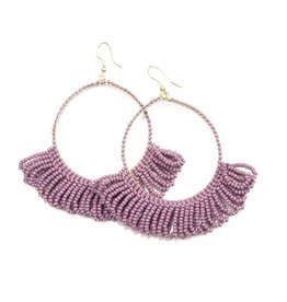 Lilac Frige Hoop Seed Bead Earrings