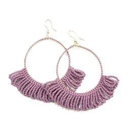Lilac Frige Hoop Seed Bead Earrings