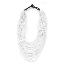 Iridescet White Multi Layer Necklace
