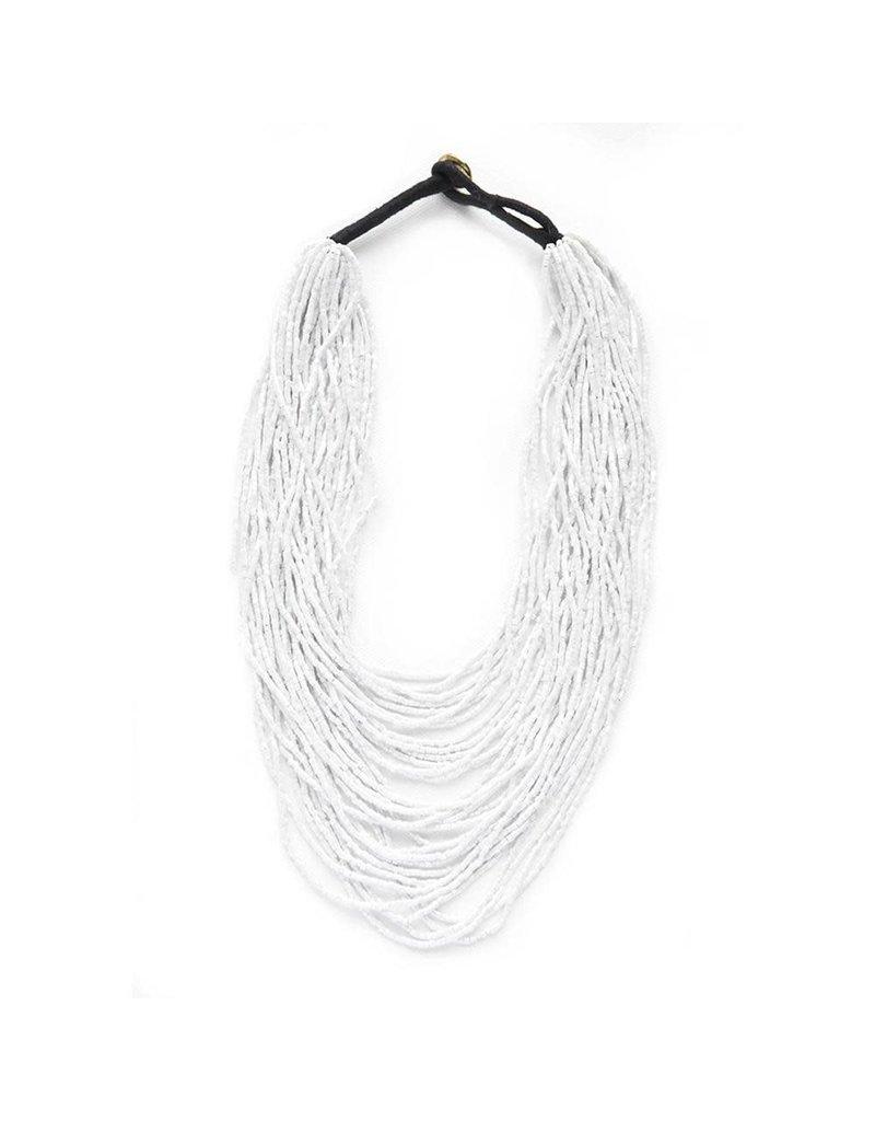 Iridescet White Multi Layer Necklace