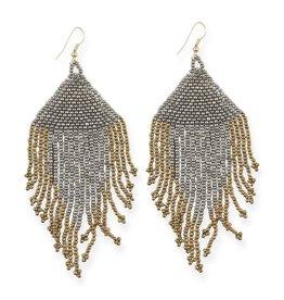 Gunmetal and Gold Fringe Earrings