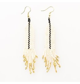 Ivory with Black Single Stripe Earrings