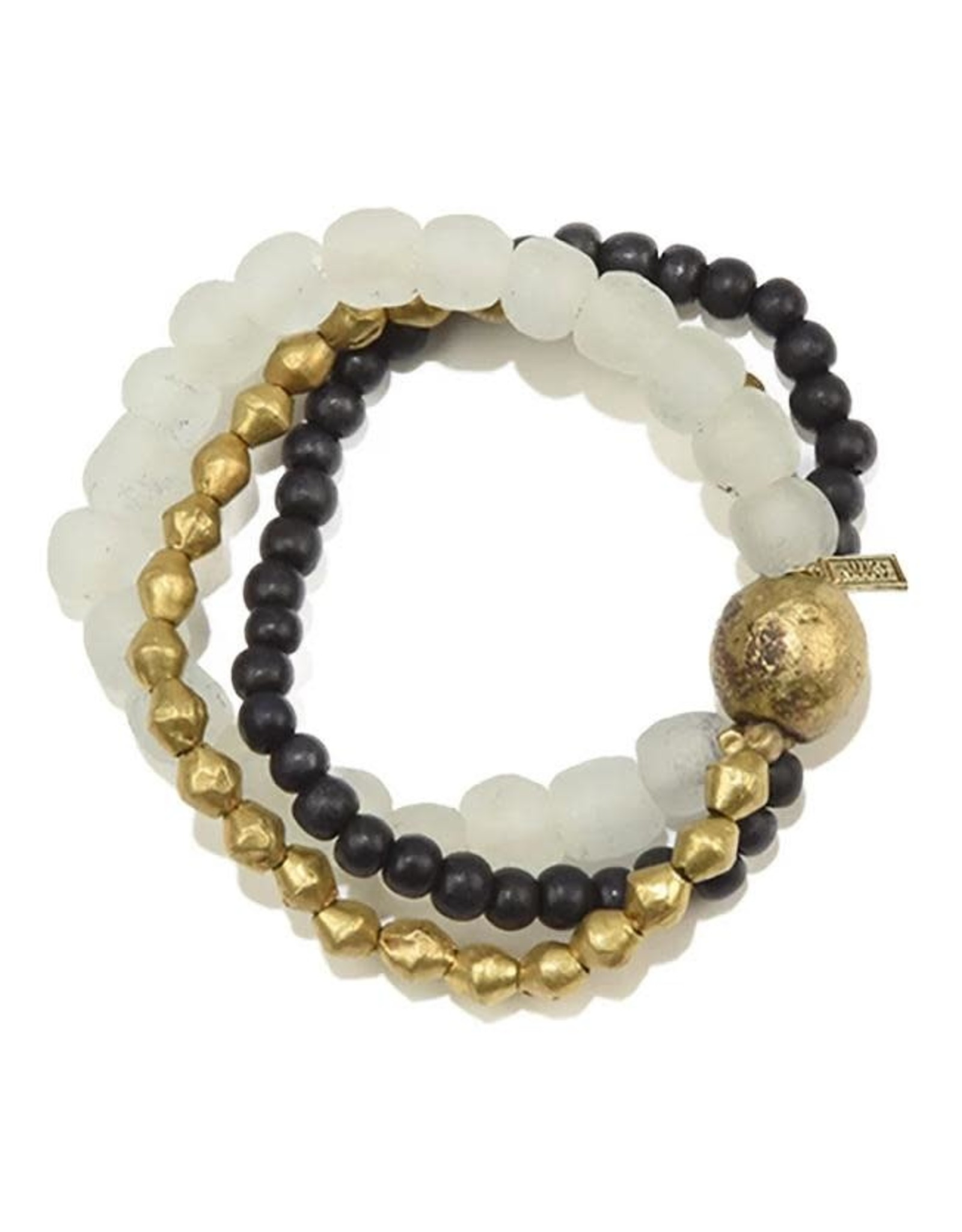 Clear Triple and Brass Bracelet