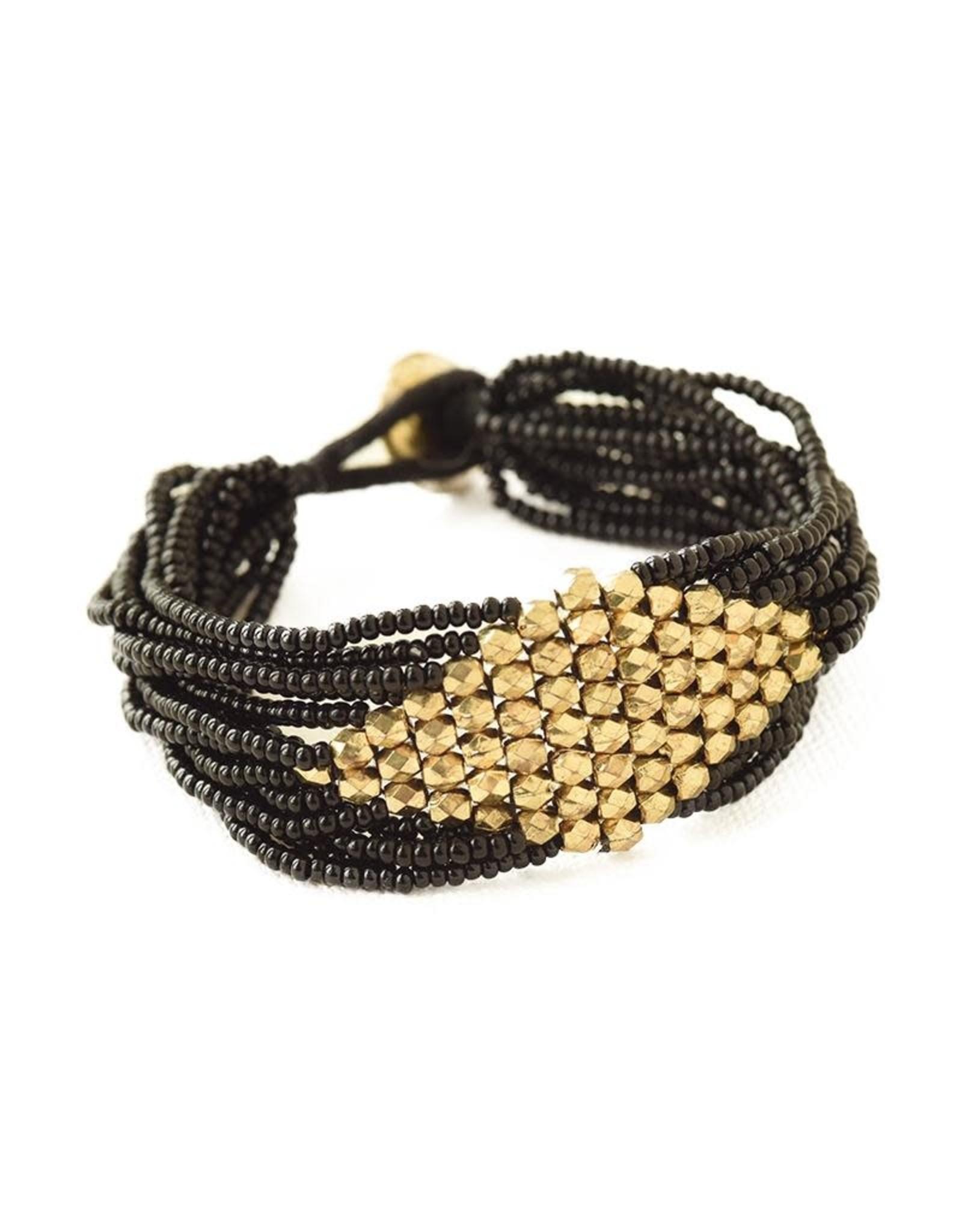 Black with Gold Diamond Bracelet