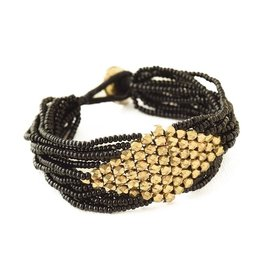 Black with Gold Diamond Bracelet