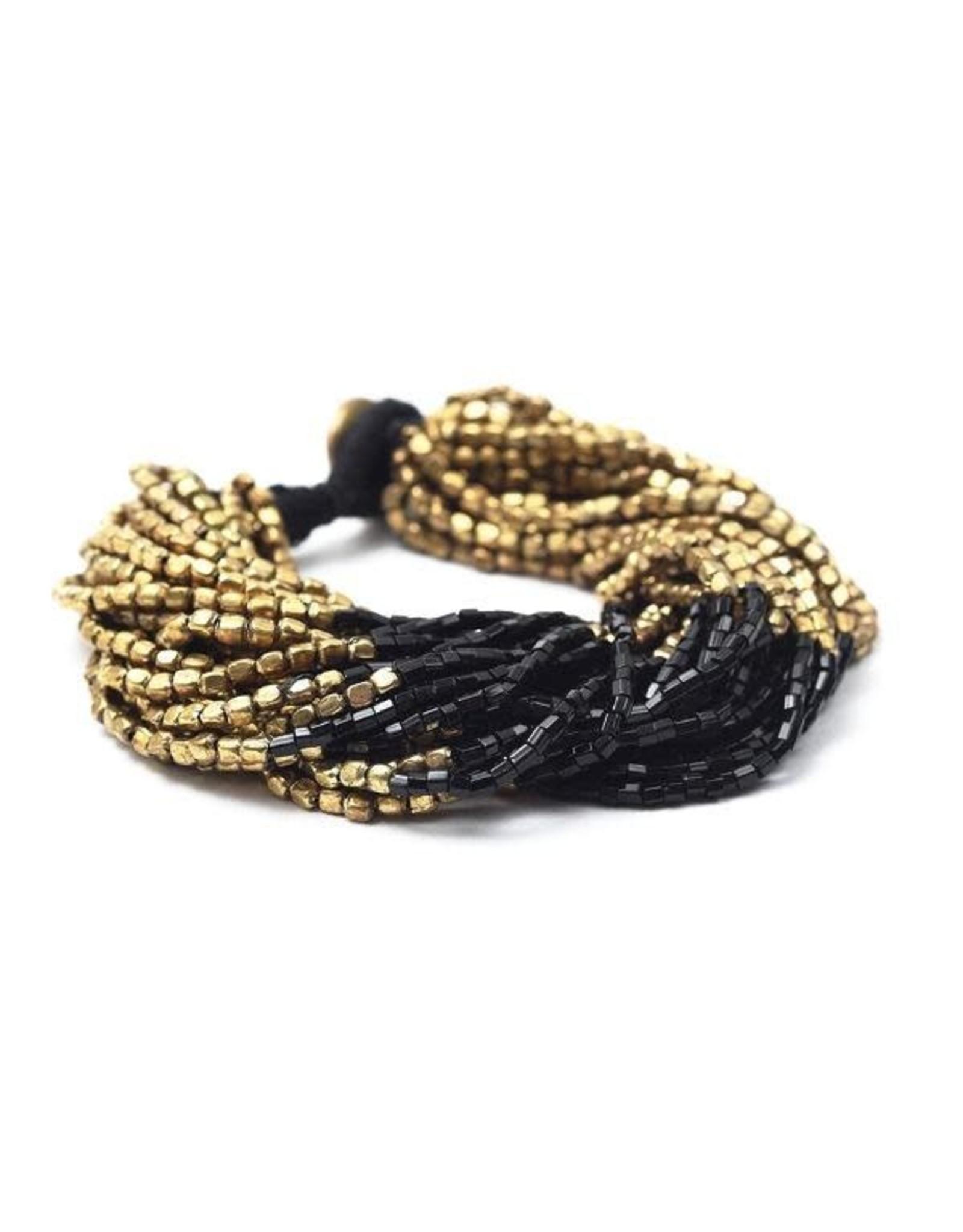 Gold with Black Multi Strand Bracelet
