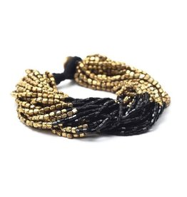 Gold with Black Multi Strand Bracelet