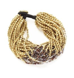 Gold with Brown Multi Strand Bracelet