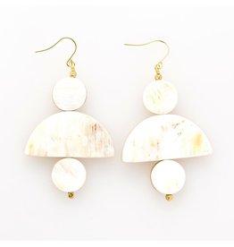 white horn 3 piece earring