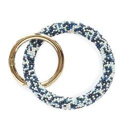 Blue Multi Seed Bead Key Ring