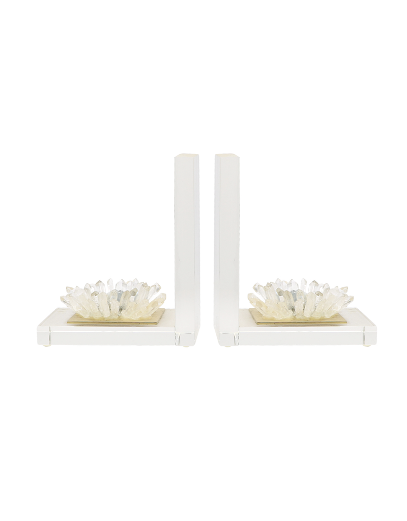 Quartz Flower Bookend Pair