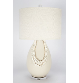 Off White Lamp With White Beads