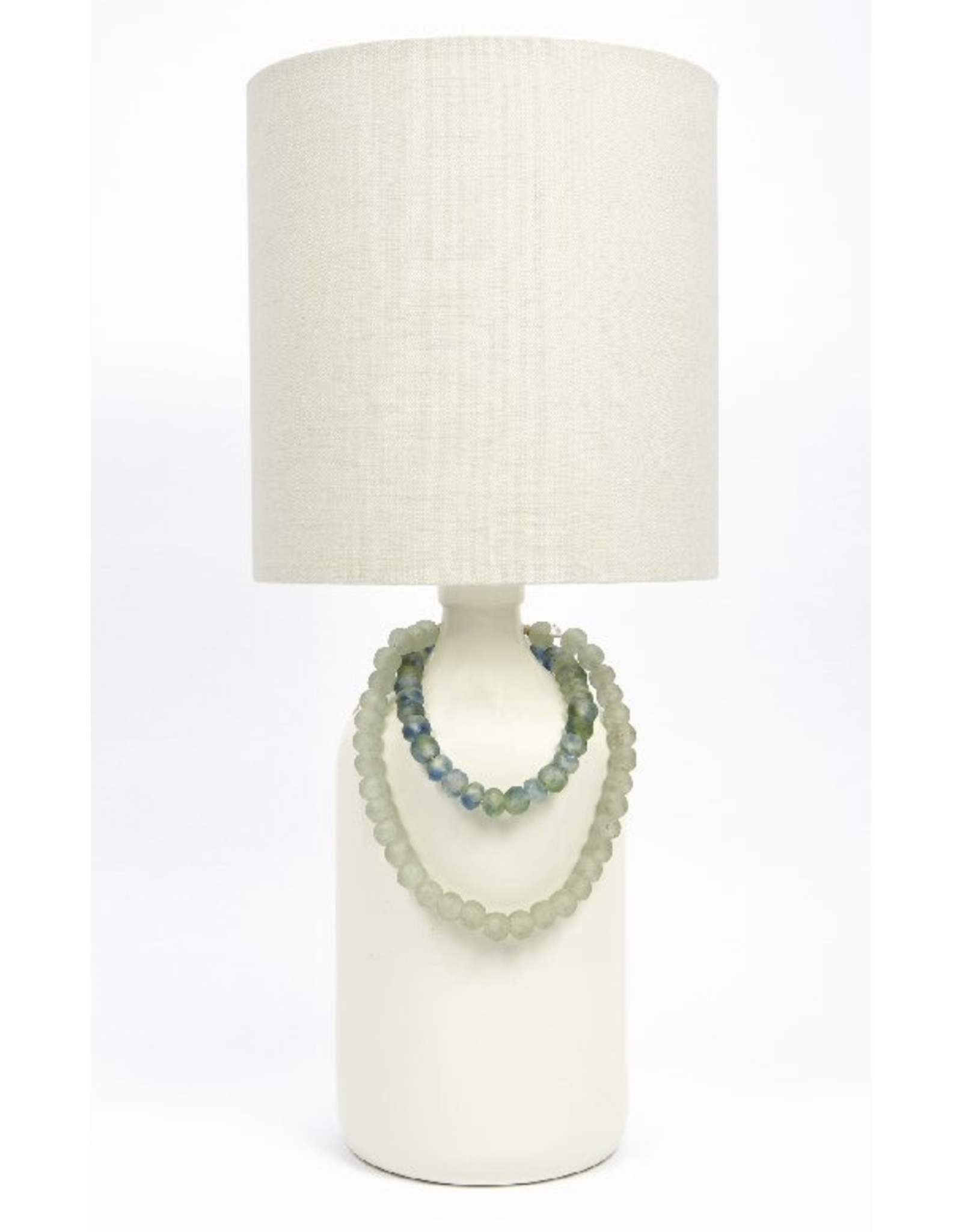 White Lamp with Blue Beads