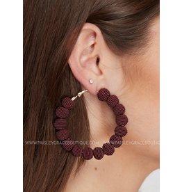 WRAPPED HOOP EARRINGS BURGUNDY