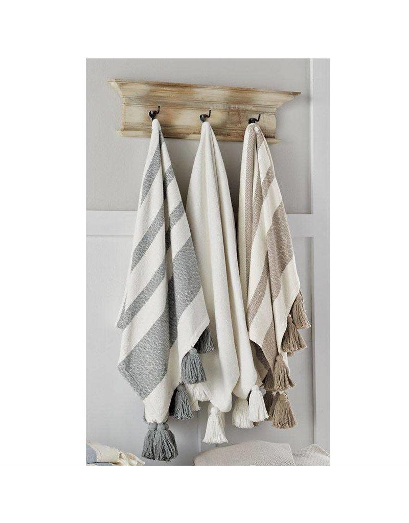 White Tassel Throw Blanket
