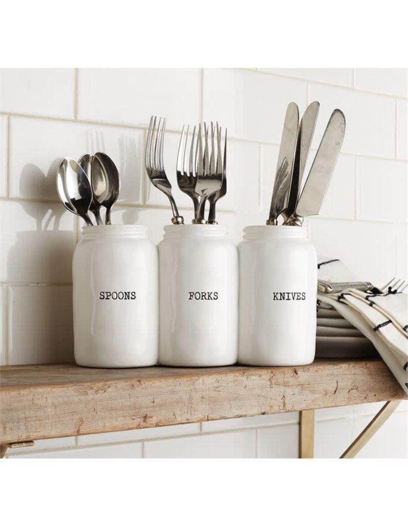Triple Ceramic Jar Utensil Holder