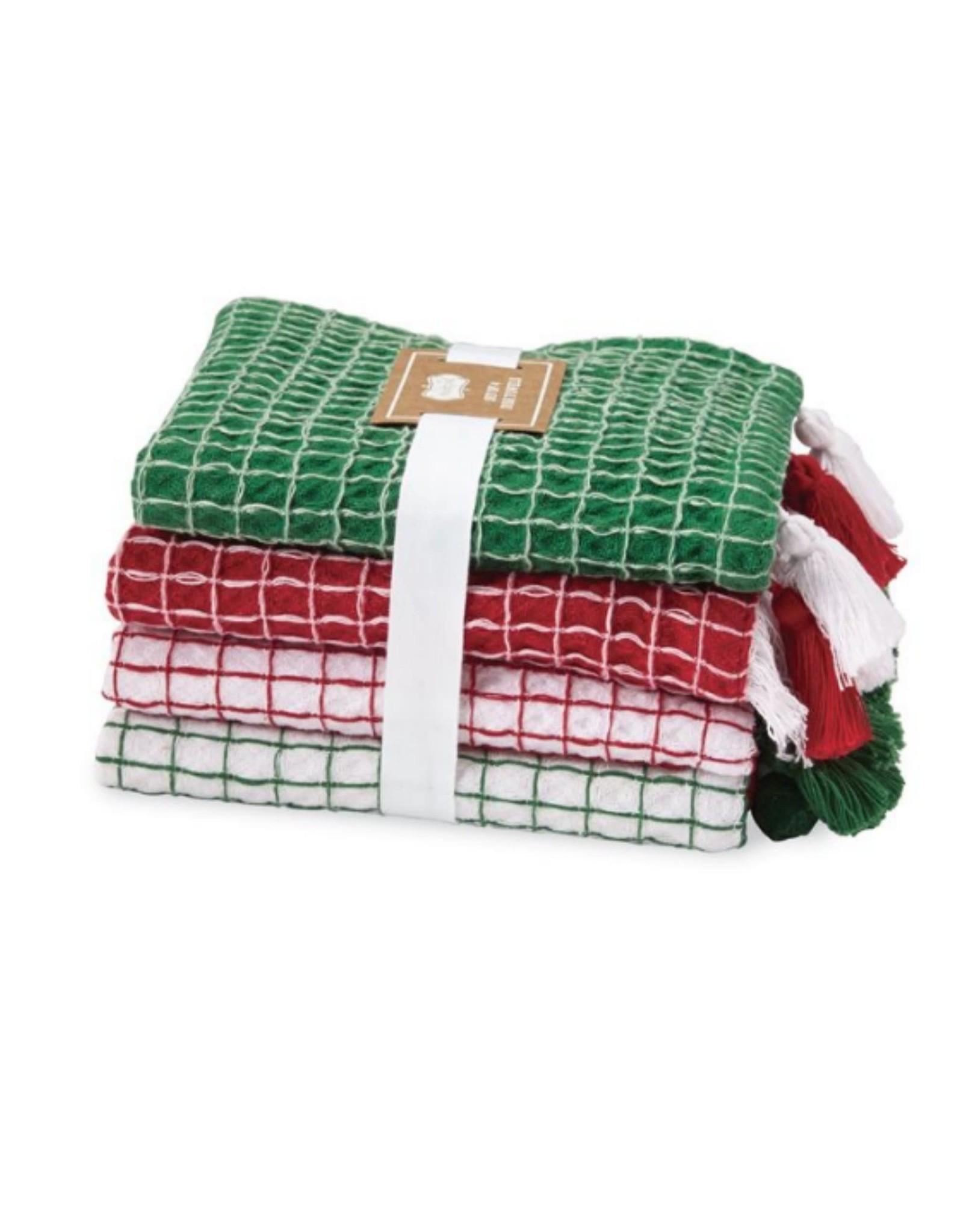Christmas Tassel & Pom-Pom Dish Towel Set