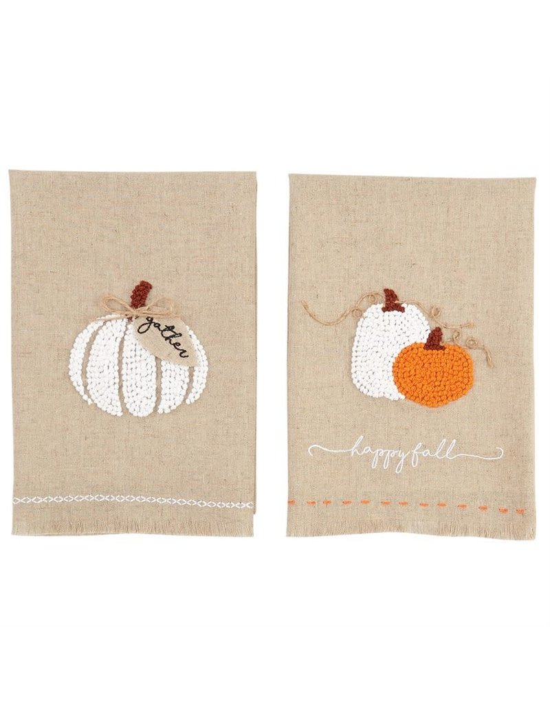 Fall Pumpkin French Knot Towels