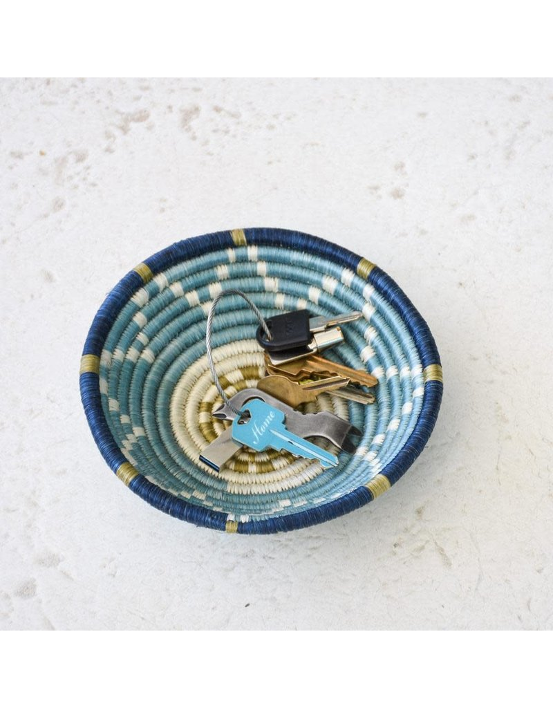 Small Silver Blue and Ficelle Basket