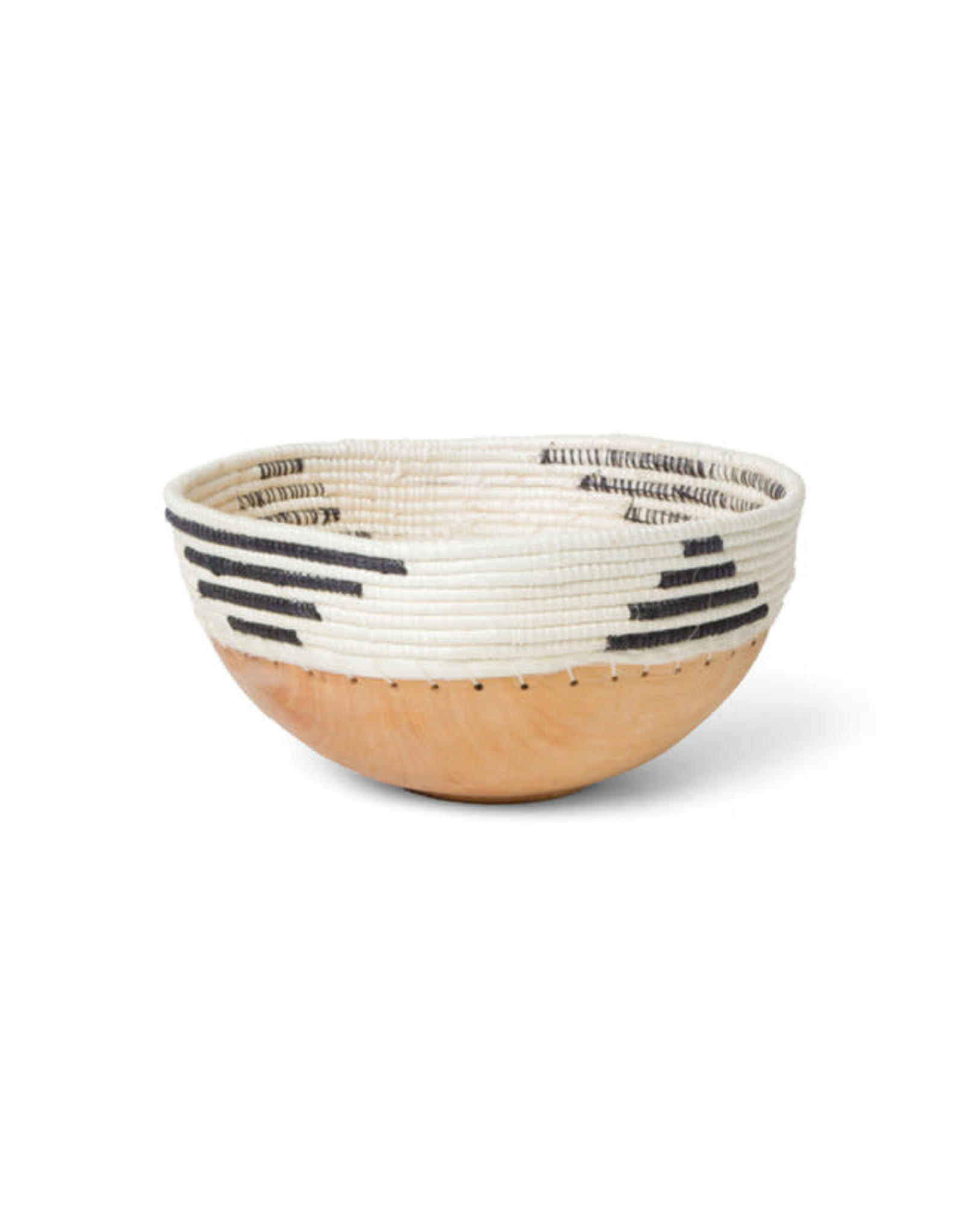 Black + White Patterned Wooden Bowl