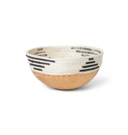 Black + White Patterned Wooden Bowl