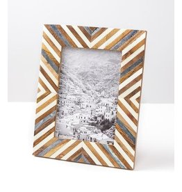 "Banka Mundi Frame - Brown and White 5"" x 7"""