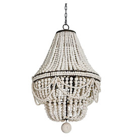 Weathered White Ball Chandelier