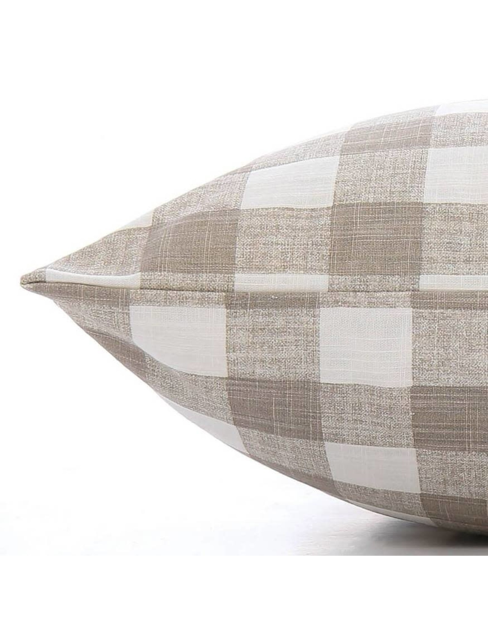 Large Warm Stone Gingham Check Dog Bed