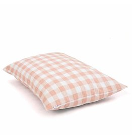 Medium Blush Pink Gingham Check Dog Bed