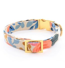 Rose Floral Natural Dog Collar Large/Gold