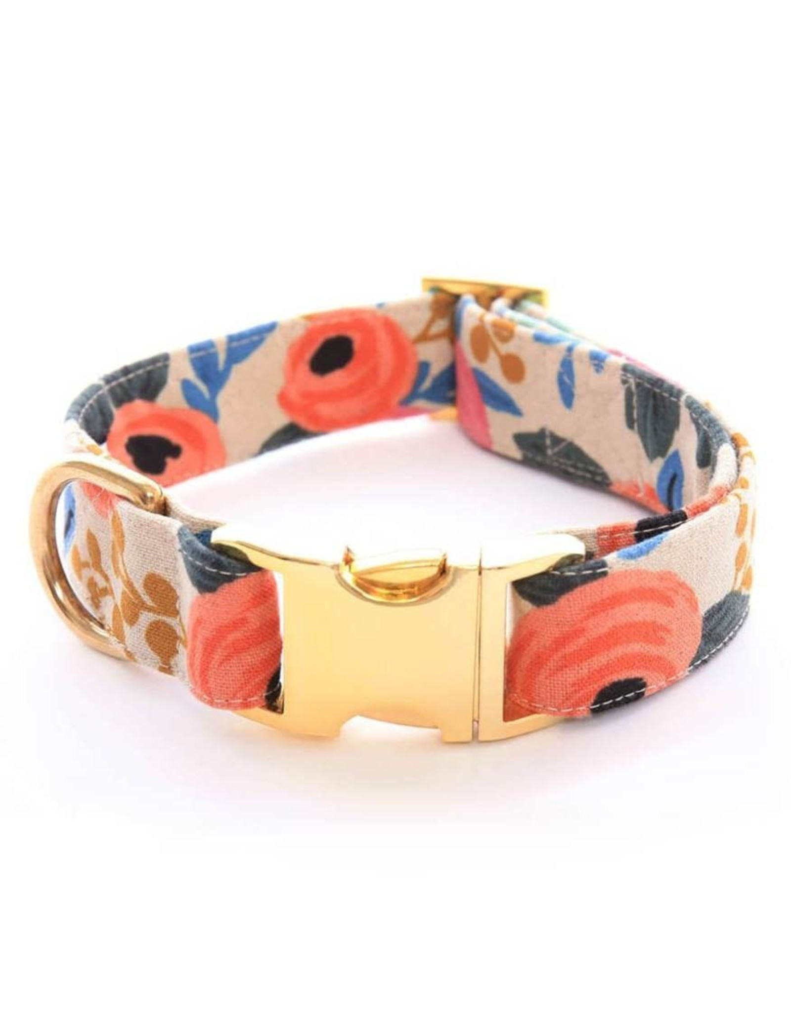 Rose Floral Natural Dog Collar Medium/Gold