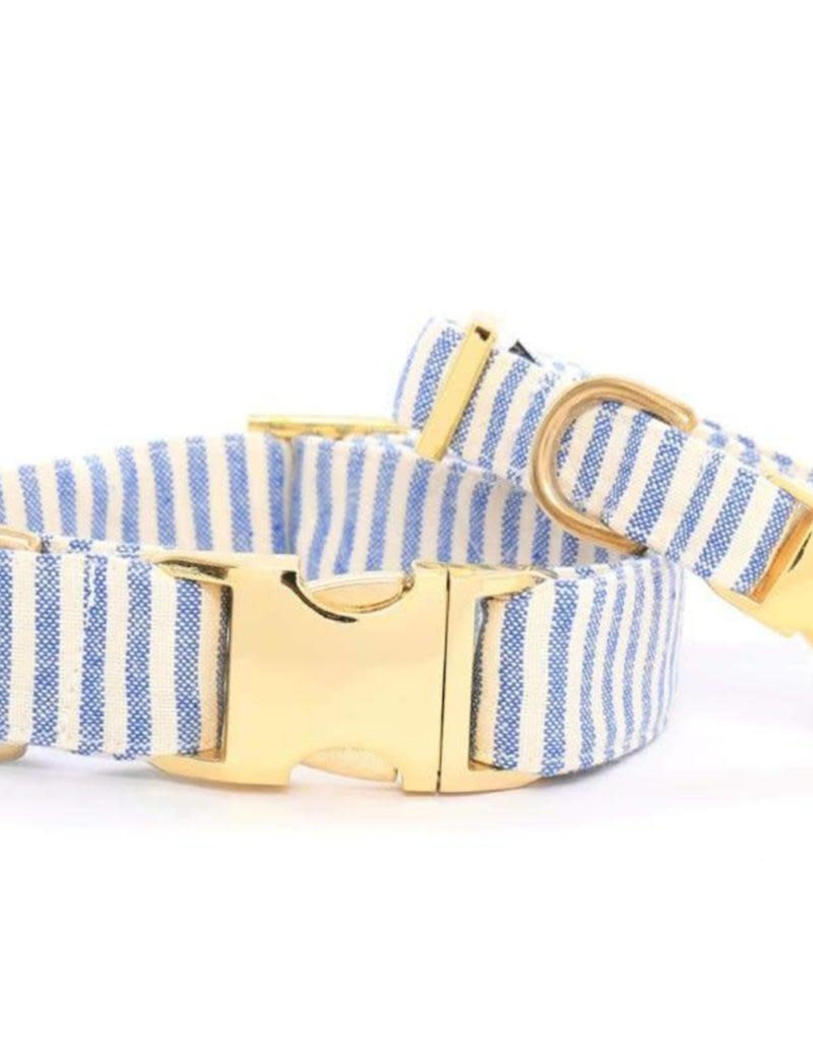 French Blue Stripe Dog Collar Medium/Gold