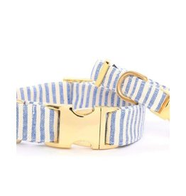 French Blue Stripe Dog Collar Medium/Gold
