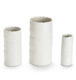 White Organic Cylinder Vase-Large