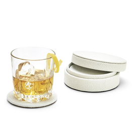 White Shagreen Coaster Set in Holder