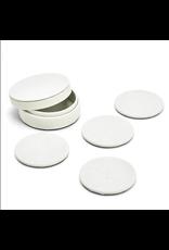 White Shagreen Coaster Set in Holder