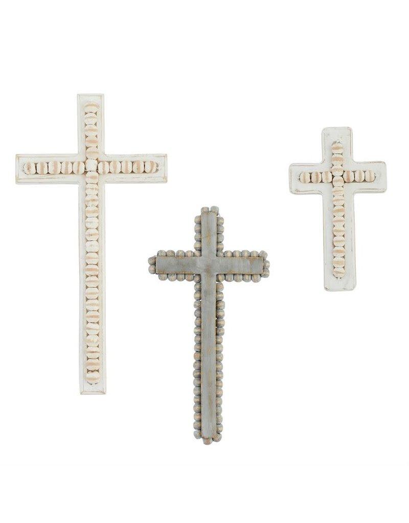 Oak + Arrow Interiors Small Beaded White-Washed Wood Cross