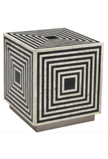 Wood and Bone Inlay Side Table
