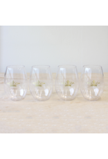 To Go Wine Glasses Clear/Gold 15oz Set of 4