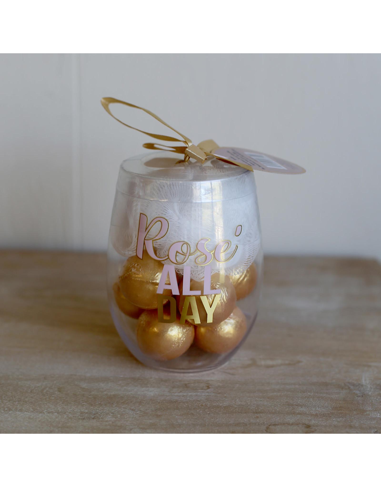 Rose' Bath Bomb Gift Set Pink/Navy/Gold 15oz