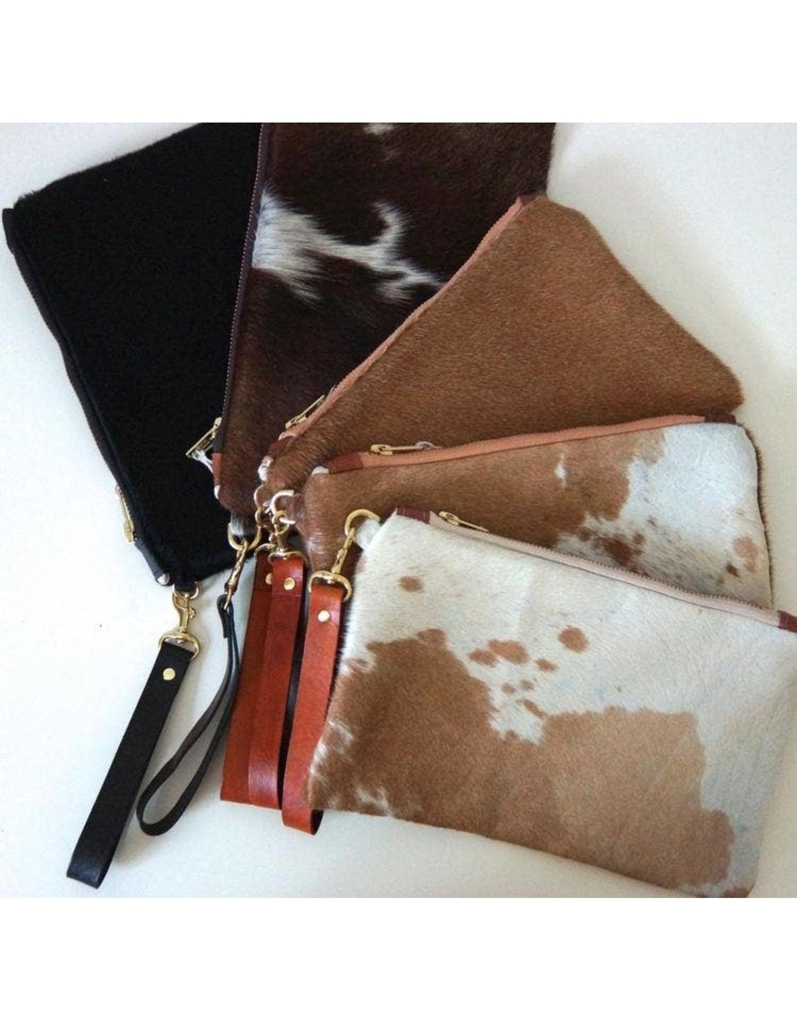 Hair on Hide Clutch: Light Brown and White Speckled