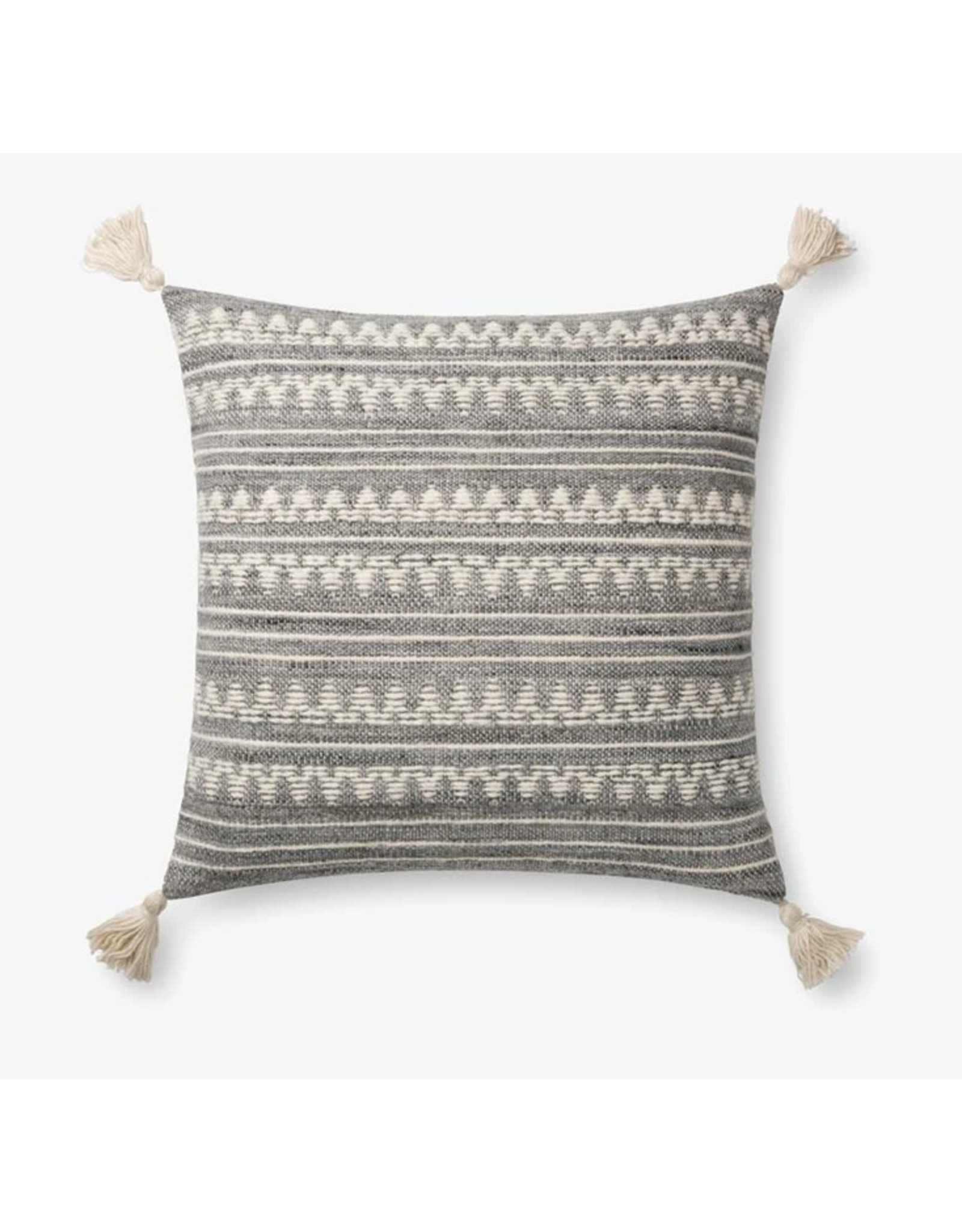 22x22 Grey/Ivory Zig Zag Pillow