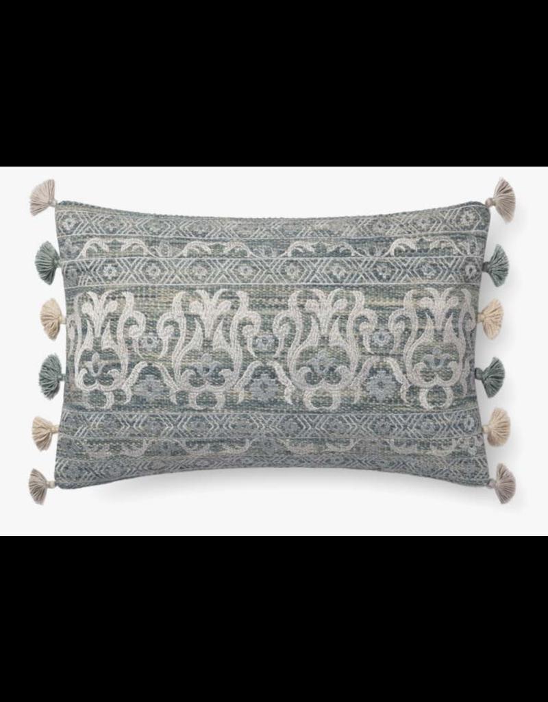 13x21 Embroidered Aqua-Silver Tassle Pillow